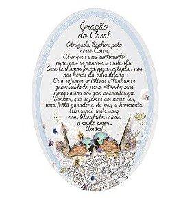 Placa Oval passarinhos - Oração do casal