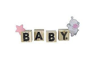 Enfeite de Mesa cubos - Baby Rosa