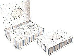 Caixa de Lembranças Meus Pequenos Tesouros - Listrada Azul