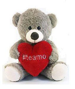 Urso de Pelúcia hashtag Te amo 32cm - Cinza