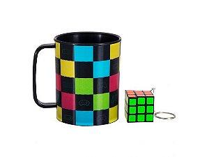 Caneca com  chaveiro - Cubo magico
