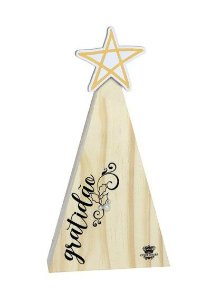 Enfeite de mesa Pinheiro com aplique estrela  - Gratidãoi