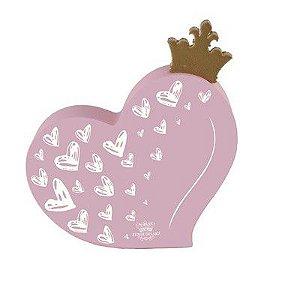 Enfeite de Mesa coração com aplique coroa ROSA