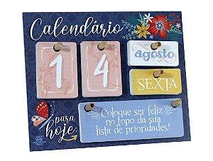 Calendário permanente de mesa com Mensagens - Floral