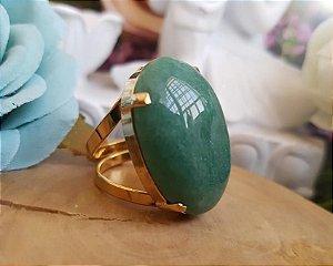 Anel ajustável dourado - Quartzo Verde