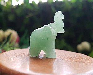 Mini Elefante de Pedra 10g - Quartzo Verde