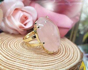 Anel ajustável dourado - Quartzo Rosa