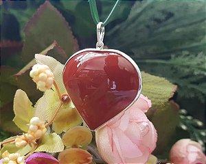 Pingente de Coração com corrente - Jaspe Vermelho