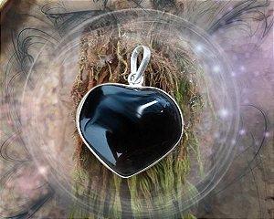 Pingente de Coração com corrente - Obsidiana Negra