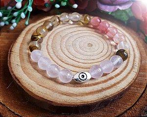 Pulseira de Pedras - Quartzo Rosa e Cristais bicolor