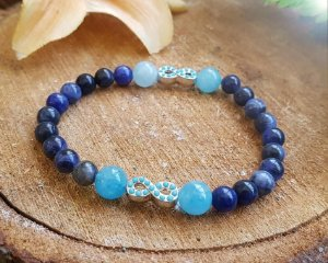 Pulseira de Pedras - Sodalita e Quartzo Azul