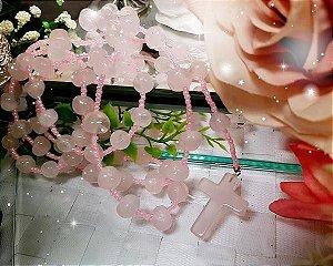 Rosário de Pedras - Quartzo Rosa