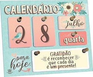 Calendário permanente de mesa com Mensagens - Verde com Flores