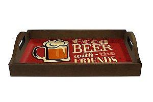 Bandeja de Madeira com Tampo de Vidro - Good Beer