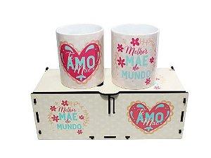 Dupla de Canecas com caixa MDF - Melhor mãe do Mundo