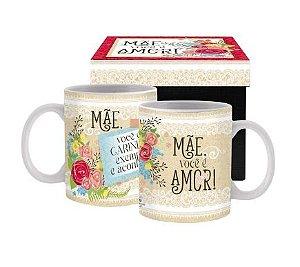 Caneca cerâmica com Caixa- Mãe você é amor