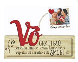 Madeirinha Cru com porta Recados/fotos - Vó Gratidão