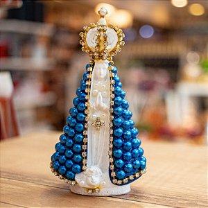 Mini Nossa Senhora Gesso Rezando Pérolas- Manto Azul