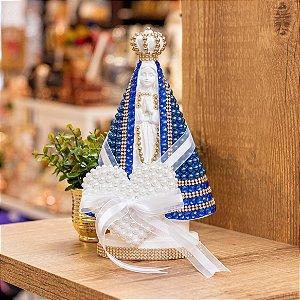 Nossa Senhora Aparecida pérolas com porta Alianças - Azul
