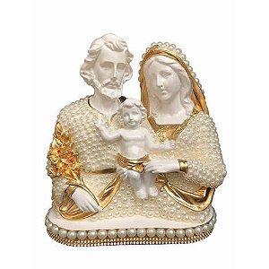 Busto Sagrada Família com perolas 17cm - Dourada e Branco