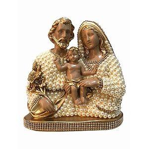 Busto Sagrada Família com perolas 22cm - Dourada