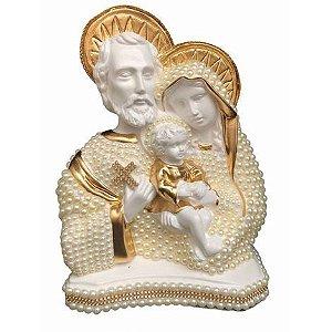 Busto Sagrada Família com perolas 28cm - Dourada