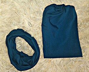 Kit touca e gola - Azul petróleo