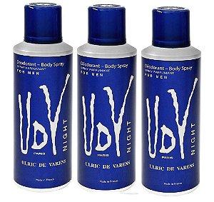 Kit 3 Unidades Ulrich De Varens Body Spray Udv Night 200ml