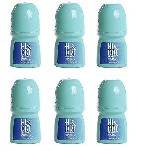Kit com 6 Unidades Desodorante Hi & Dri Roll-On Sem Perfume 50ml