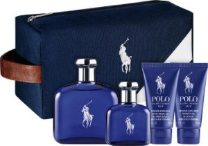 Kit Polo Blue Ralph Lauren Perfume EDT 125ml + EDT 40ml + Gel de Banho 50ml + Pós-Barba 50ml + Nécessaire