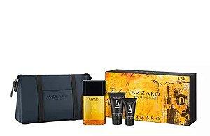 Kit Azzaro Pour Homme Eau de Toilette 100ml - 1 kit com 4 itens - Gel Pós Barba Shampoo Corpo e Cabelo