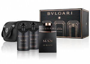Kit BVLGARI Man in Black Eau de Parfum BVLGARI - Perfume Masculino 100 ML + Gel de Banho 75ML + Pós Barba 75ML + Necessaire