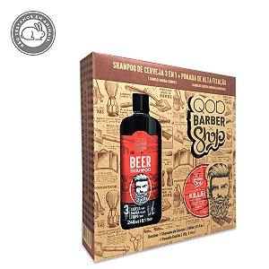 Kit QOD Barber Shop Beer - Shampoo 3 em 1 240ml + Pomada Capilar Alta Fixação 70g