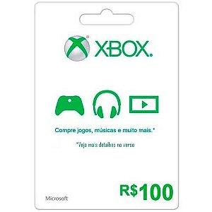 Microsoft Gift Card R 100 - Xbox Live Brasil