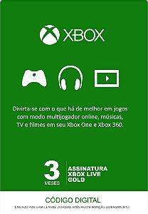 Xbox Live 3 Meses Gold Card (Live Brasil)