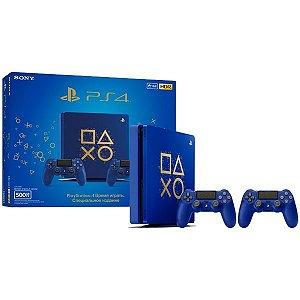 Console Playstation 4 SLIM 500GB PS4 Edição Especial Days of Play Azul c/ 2 controles - Sony