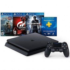 Playstation 4 Slim 1TB Bundle (Nacional) (God of War, Uncharted 4, Gran Turismo Sport)