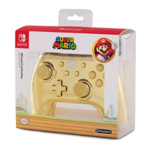 Controle Switch Powera Wired Chrome Mario Gold Edition