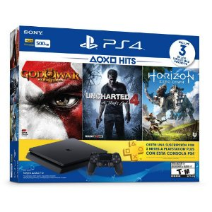 Console play 4 slim 500gb com 3 jogos god of war – uncharted4 – horizon zero dawmcom cartao live
