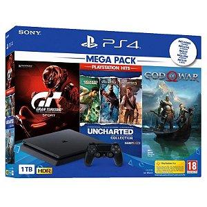 Console Sony PlayStation 4 Slim 1TB com 3 Jogos - Preto 220v - 50/60Hz