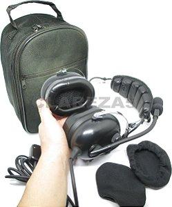 KIT CONFORTO TOTAL: Fone aeronáutico com abafadores em GEL, capas e bolsa. Headset para pilotos de avião, aviação geral PP, PC ou PLA