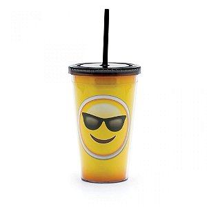 Copo com Canudo Emoji Óculos