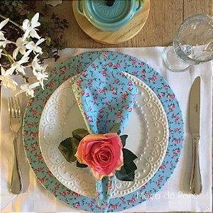 Capa de Sousplat Floral Delicado Azul