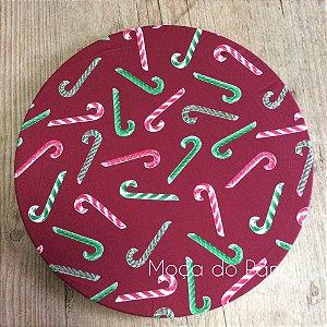 Capa de Sousplat Natal Bengalinhas Doces Fundo Vermelho