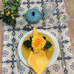 Caminho de Mesa Azulejo Português Azul e Amarelo