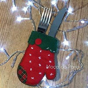Porta Talheres Natal Luva Vermelha