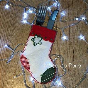 Porta Talheres Natal Meia Branca