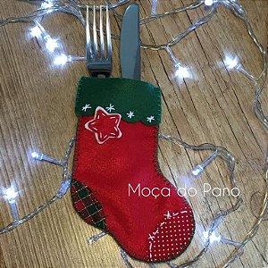 Porta Talheres Natal Meia Vermelha