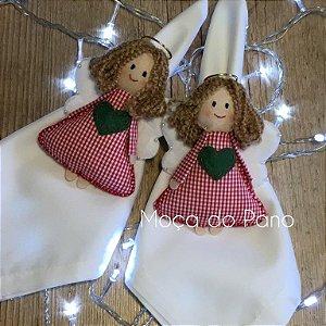 Porta Guardanapo Natal Anjo Roupa Vermelha