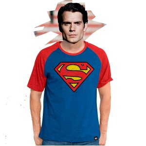 Camiseta Raglan Masculina Superman Logo Clássico - PRODUTO OFICIAL DC COMICS